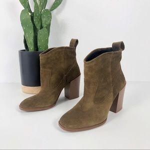 Zara Suede Brown/Green Heel Booties